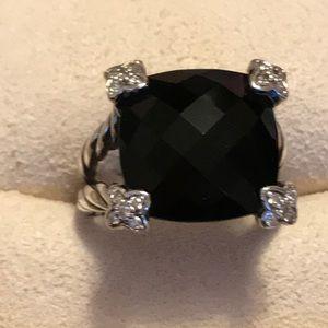 Authentic David Yurman Large Onyx with Diamonds